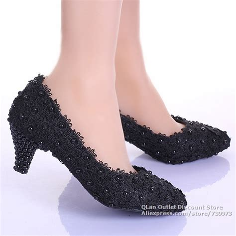 shoes black evening low heels lace chunky heels