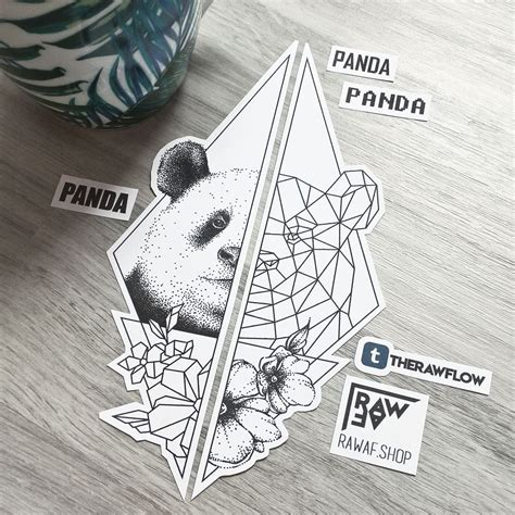 raw tattoo designs dotwork geometric panda flowers design