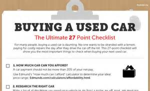 buying a new car checklist ultimate used car buying guide 27 point checklist