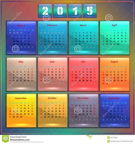 Semaine 9 Calendrier 2015 Semaine Am 233 Ricaine 12 De Dimanche De Vecteur Du Calendrier