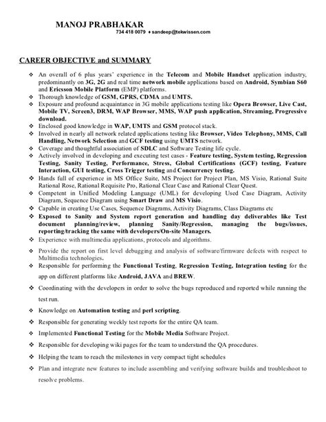 mobile test engineer resume format manoj resume