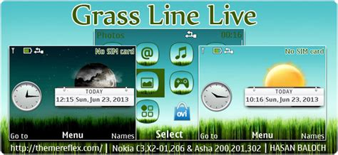 live themes nth grass live nokia asha 303 x3 02 touch and type theme