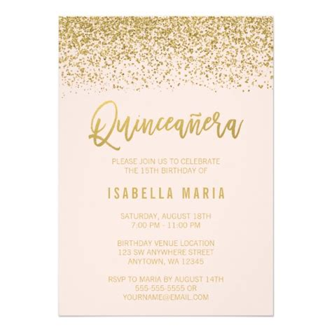 printable quinceanera card modern blush pink faux gold glitter quinceanera card