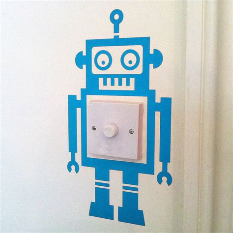 light switch robot vinyl wall sticker by oakdene designs