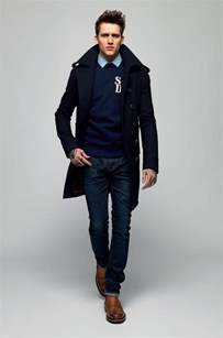 brogues and jeans and crew neck sweater and dress shirt