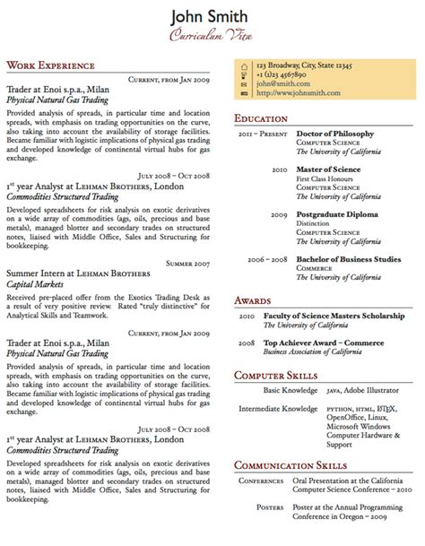 Two Column Resume by Two Column One Page Cv Resume Template Office