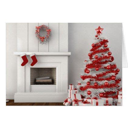 red white christmas tree fireplace holiday card merry christmas diy xmas present gift idea