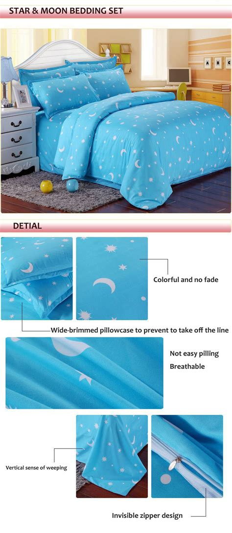 moon and stars bedding set cotton blue stars moon printing bedding set twin queen