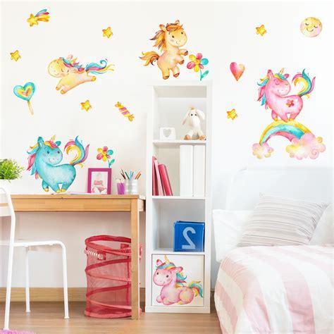 kinderzimmer ideen einhorn wandtattoo einhorn aquarell kinderzimmer set