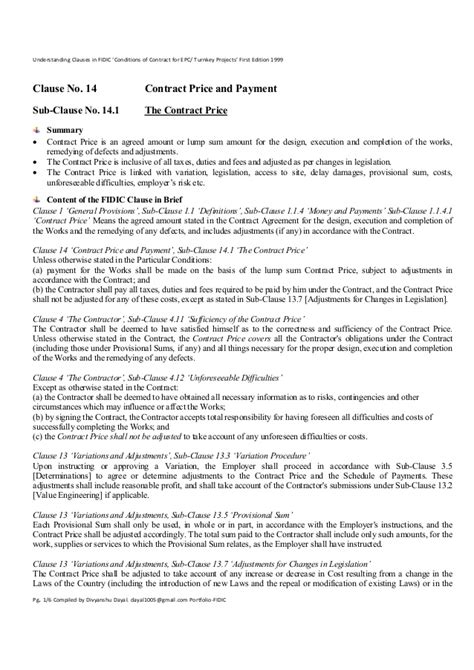 Clause 14 1 The Contract Price Understanding Clauses In Fidic Condi Epc Agreement Template