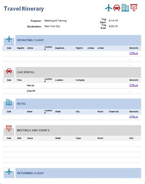 Airline Itinerary Template 9 itinerary templates