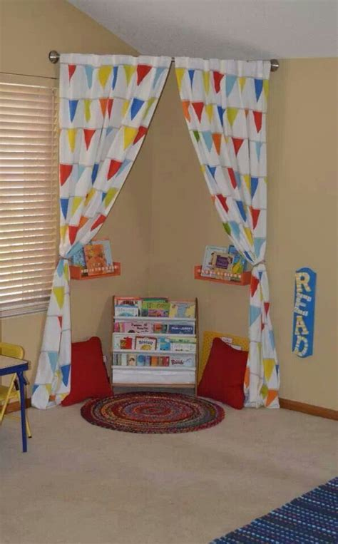 curtains for kids playroom reading nook rounded rod with pink curtains tied back