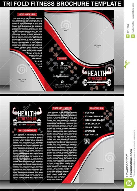 tri fold fitness brochure template stock vector image