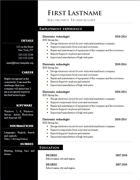 resume templates in word format free free cv template 303 to 309 free cv template dot org