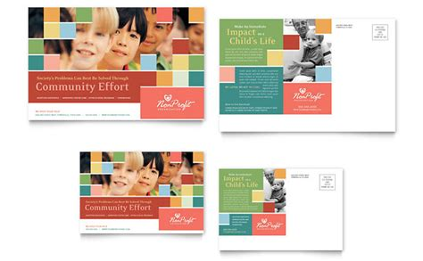 promotional event post card template non profit association for children postcard template design