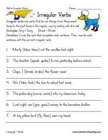 irregular verbs worksheet teaching