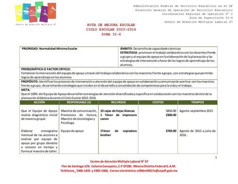 ejemplo de diagnostico de ruta de mejora preescolar ruta de mejora 2015 2016 terminada by carlos pineda luna