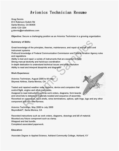 Avionics Installer Cover Letter by Resume Sles Avionics Technician Resume Sle