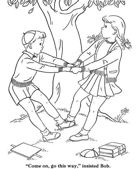 free coloring pages of children playing together