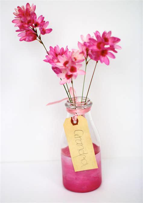 Wine Bottle Flower Vase Think Pink Painted Bottle Vases
