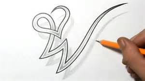 Drawing letter w combined with a heart design youtube