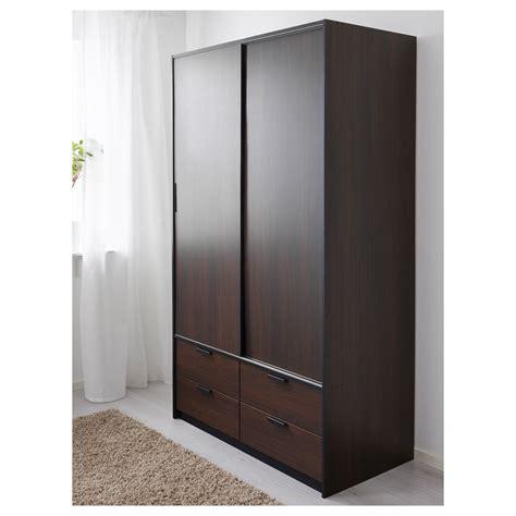 Ikea Wardrobe Closet Sliding Door Trysil Wardrobe W Sliding Doors 4 Drawers Brown 118x61x202 Cm Ikea