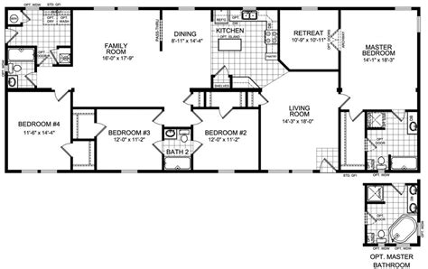 4 bedroom mobile home floor plans 4 bedroom modular home plans smalltowndjs com