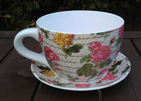 Giant Pink Rose Design Tea Cup And Saucer Planter Ebay Large Teacup Planter