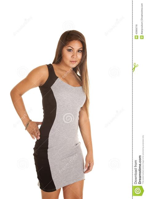 Stripi Dres Black in gray and black dress stock photo image