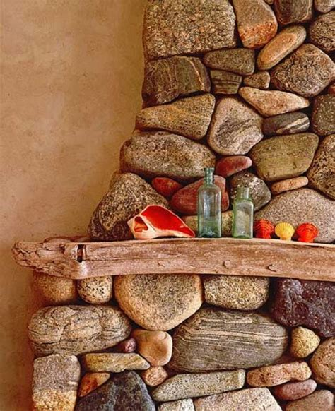 river rock fireplace ranch house