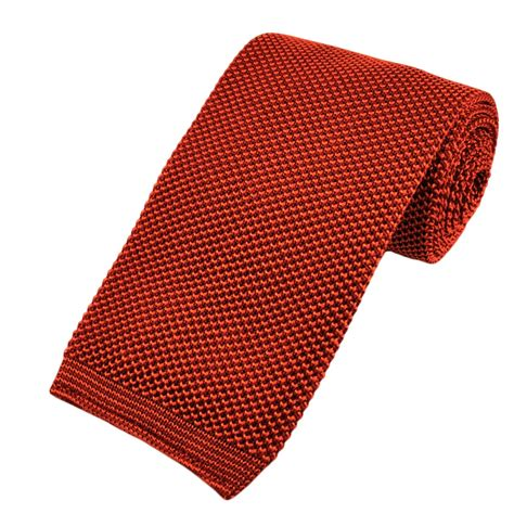knitted orange tie tangerine orange premium knit silk tie from ties planet uk