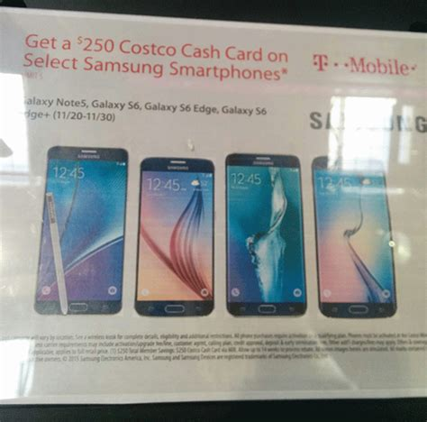Tmobile Gift Cards - costco offering 250 gift card with purchase of t mobile galaxy note 5 galaxy s6 s6