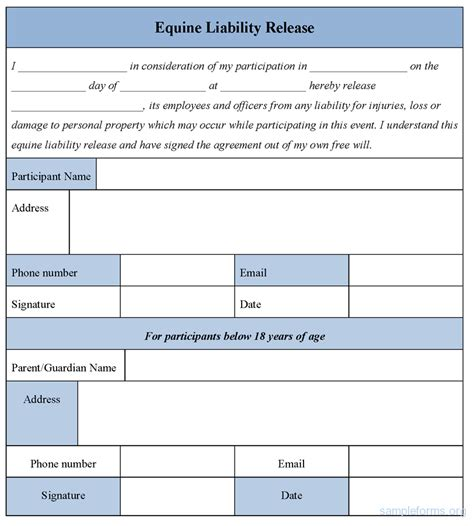liability release form template sports images