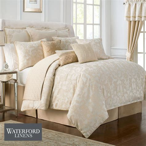 Linen Duvet Set Britt Gold And Cream Comforter Bedding From Waterford Linens