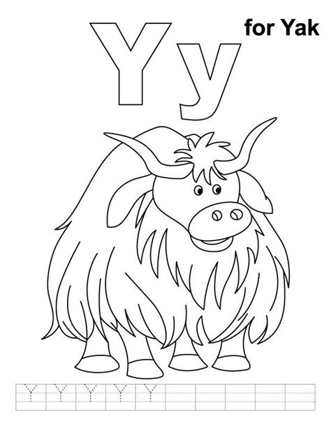 For Yak Coloring Page With Handwriting Practice Link To Coloring Sheets For Letter Y Yellow