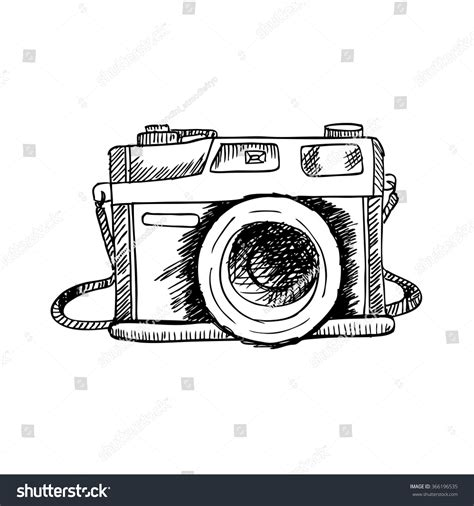 retro drawing retro photo camera hand drawing illustration stock vector
