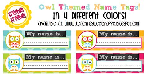 free printable owl nameplates the teaching sweet shoppe freebie owl themed name tags