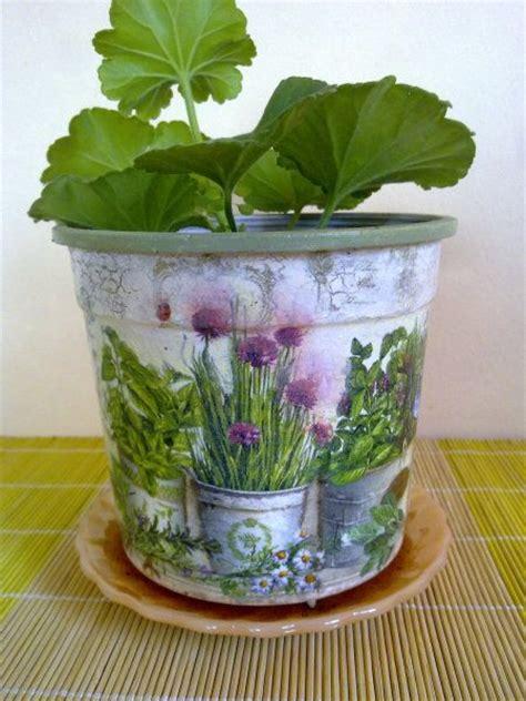 Decoupage Clay Pots Ideas - decoupage flower