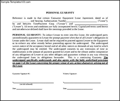 free download personal guarantee form sle templates