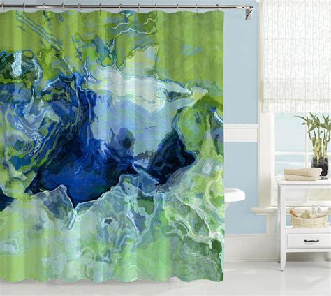 artist shower curtains abstract art shower curtain green blue yellow green