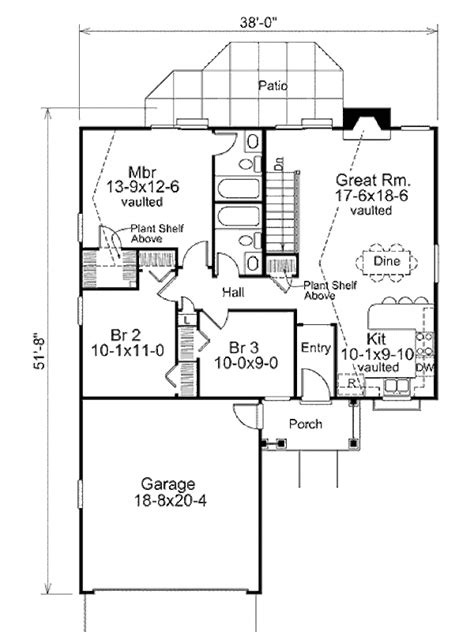 ranch style house plans 1102 square foot home by ranch style house plan 3 beds 2 baths 1102 sq ft plan