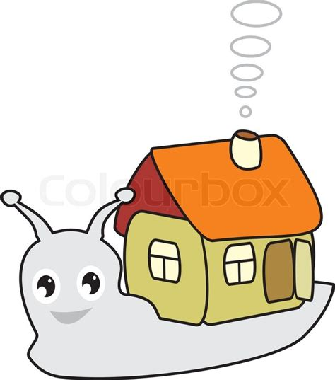 small cartoon house illustration shows done style isolated fairy snail with a small house in cartoon style vector