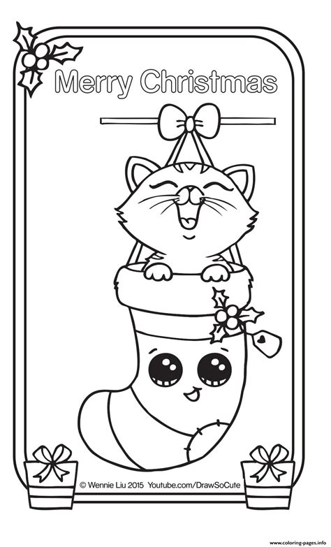 christmas card kitten draw  cute coloring pages printable