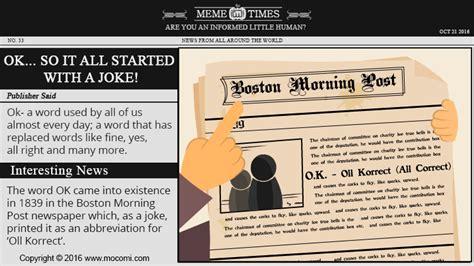 Origin Of The Word Meme - the origin of the word ok meme times mocomi kids