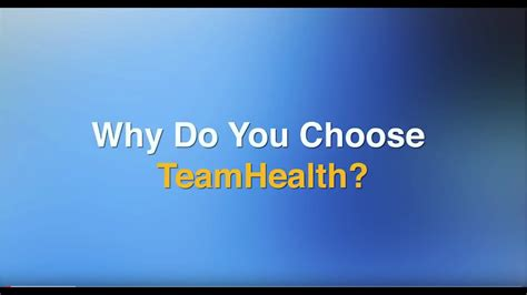 Why Did You Decide To Do An Mba by Why Do You Choose Teamhealth