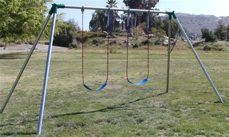 large metal swing sets s102 standard 10 high 2 swing 1 bay swing sets usa