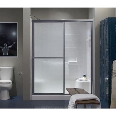 Sterling Glass Shower Doors Sterling 59 3 8 In X 69 15 16 In Framed Sliding Shower Door In Silver With Glass Texture