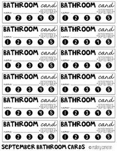 bathroom pass punch card free bathroom passes and sign out sheet