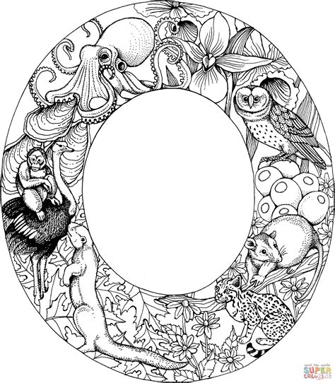 color o letter o with animals coloring page free printable