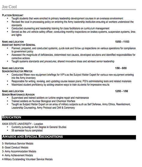 Spouse Resume Exles by Service Resume